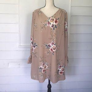 Merokeety XXL tan floral boho dress new